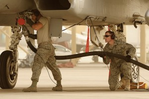 F-15 Eagle aircraft being hot pit refueled in southwest Asia