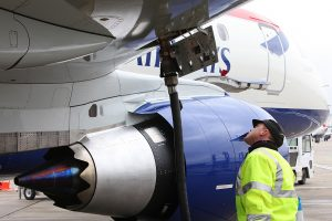 A British Airways Embraer 170 refuelling before departure at London City Airport.